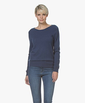 Repeat Cashmere Boothals Trui - Donkerblauw