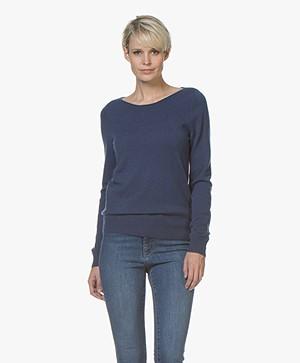 Repeat Cashmere Boat Neck Pullover - Dark Blue