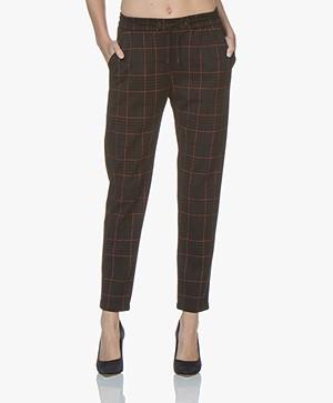 BOSS Soggary Geruite Wolmix Sweatpants - Zwart/Blauw/Rood