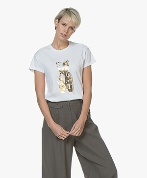 By Malene Birger Chary T-shirt met Gouden Beer Opdruk - Wit
