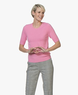 Repeat Short Sleeve Cashmere Pullover - Pink