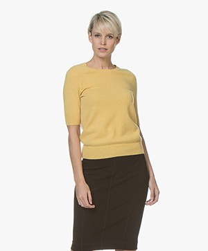 Repeat Cashmere Trui met Korte Mouw - Sunflower