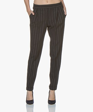 BOSS Ariyesa Loose-fit Pinstripe Pants - Black/Off-white