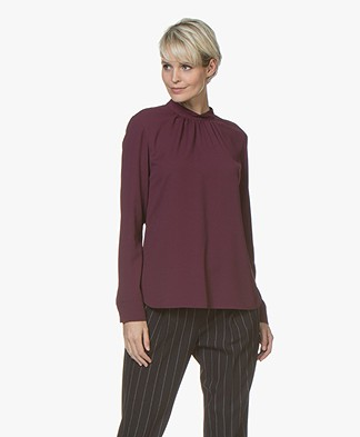 BOSS Bajania Crepe Blouse with Pleats - Aubergine