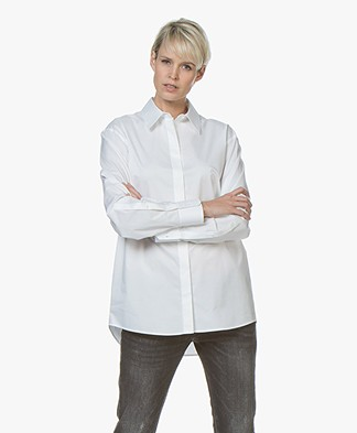 BOSS Reeka Oversized Stretch Cotton Blouse - White