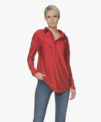 JapanTKY Grabu Shiny Travel Jersey Blouse - Red