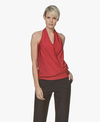 JapanTKY Iwakis Shiny Halterneck Wrap Top - Red