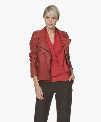 BOSS Jadory Leather Biker Jacket - Bright Red