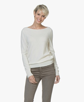 Repeat Cashmere Boat Neck Pullover - Cream