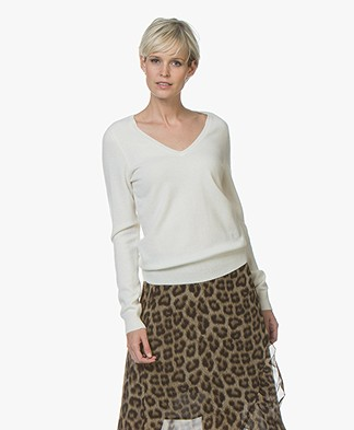Repeat Cashmere V-Neck Pullover - Cream