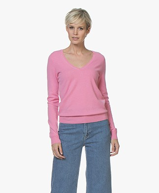 Repeat Cashmere V-Neck Pullover - Pink