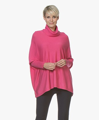 Repeat Oversized Merino Turtleneck Sweater - Pink