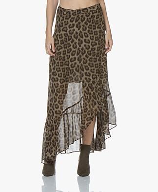 ba&sh Falvi Leopard Print Maxi Skirt - Khaki/Black