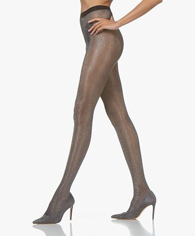 FALKE Highshine 20 Den Lurex Panty - Zwart/Zilver