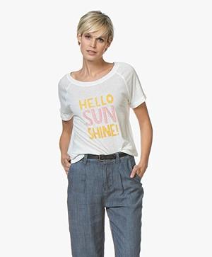 Repeat Linnenmix Hello Sunshine T-shirt - Cream