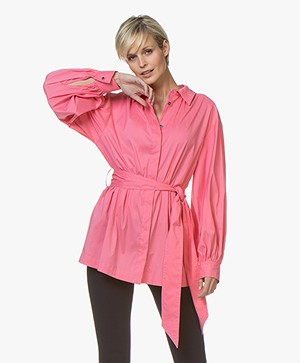 Repeat Puffed Sleeve Blouse with Tie Belt - Pink