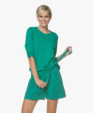 Repeat Cotton Blend Mid Sleeve Sweater - Emerald