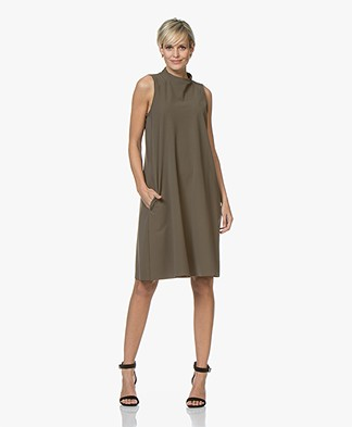 JapanTKY Amyas Travel Jersey Sleeveless A-line Dress - Khaki