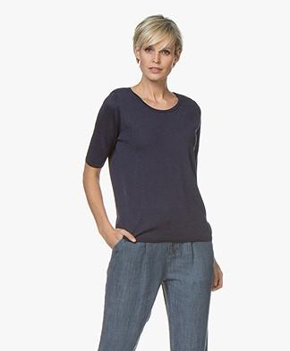 Sibin/Linnebjerg Naomi Fine Knitted T-shirt - Navy