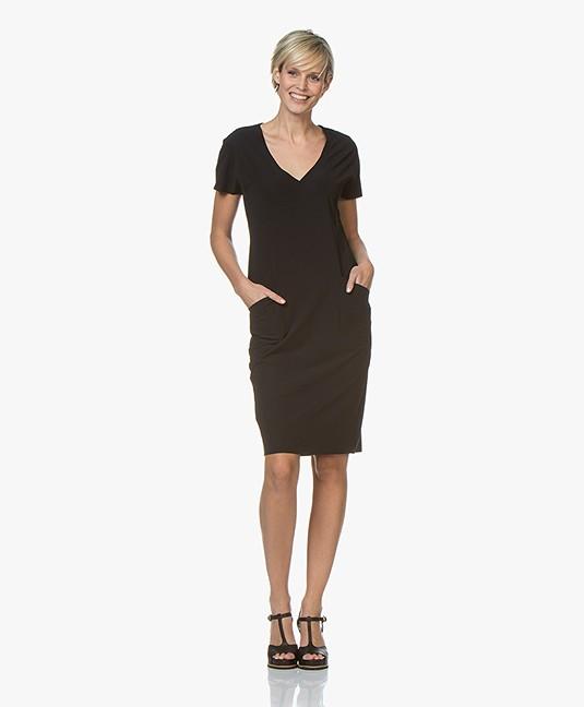 a9849f6a8d94ee JapanTKY Tyra Travel Jersey V-neck Dress - Black - tyra 036