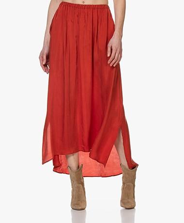 American Vintage Nonogarden Cupro Blend Maxi Skirt - Blood Orange