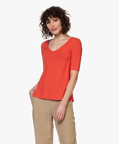 Kyra & Ko Dotty V-hals T-shirt - Rood