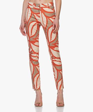 Kyra & Ko Pax Pants with Leaf Print - Khaki