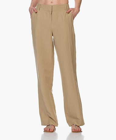 Kyra & Ko Pauleen Straight Pants in Tencel and Linen - Khaki