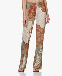 Kyra & Ko Alais Printed Crepe Jersey Pants - Khaki