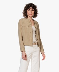 Kyra & Ko Aster Blazer Jacket in Tencel and Linen - Khaki