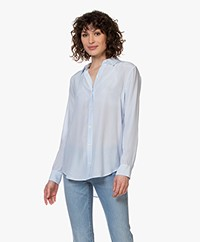 Equipment Essential Gestreepte Zijden Blouse - Serenity/Bright White