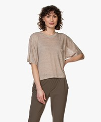 Pomandère Oversized Linen T-shirt - Dark Beige