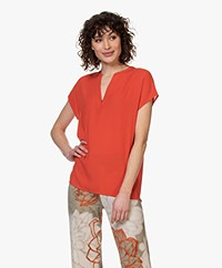 Kyra & Ko Maren Crepe Short Sleeve Blouse - Red