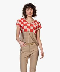 Kyra & Ko Jikke Viscose Jersey Print T-shirt - Khaki