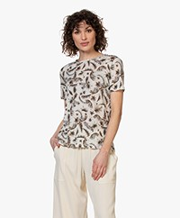 Repeat Linen Palm Print T-shirt - Greige