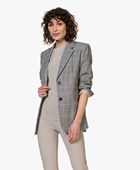 Repeat Checkered Cotton Blend Blazer - Black/Off-white