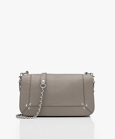 Jerome Dreyfuss Bobi Shoulder/Cross-body Bag in Goatskin - Taupe Grey/Silver
