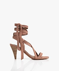 ba&sh Cidney Wrap-around Suede Heeled Sandals - Dust Pink