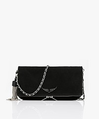 Zadig & Voltaire Rock Suede + Strass Shoulder Bag/Clutch - Black