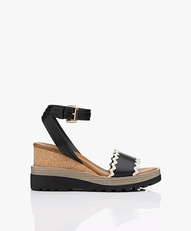 See by Chloé Leather Wedge Sandals - Black/Off-white