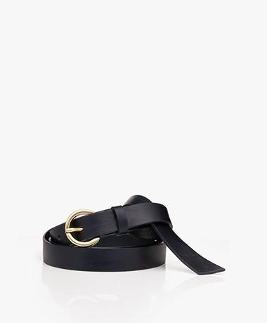 American Vintage Lomobay Smal Leather Belt - Navy