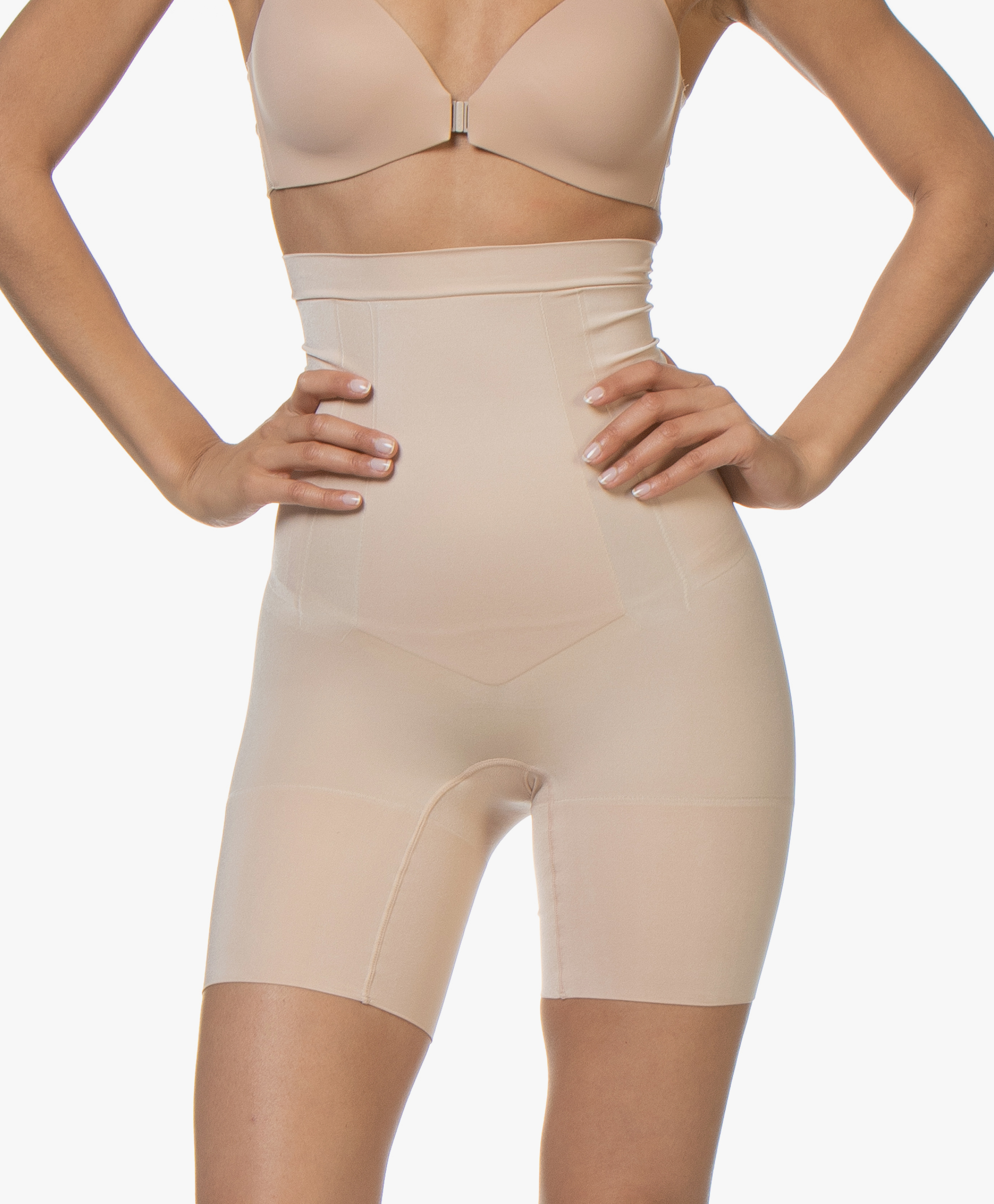 New Women/'s SPANX SS1915 Beige Oncore High Waist Mid Thigh Shape Shorts size M