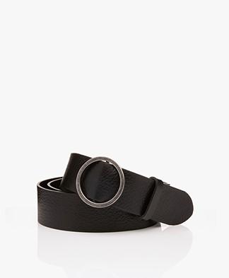 American Vintage Leren Atimoy Riem met Ring Gesp – Zwart