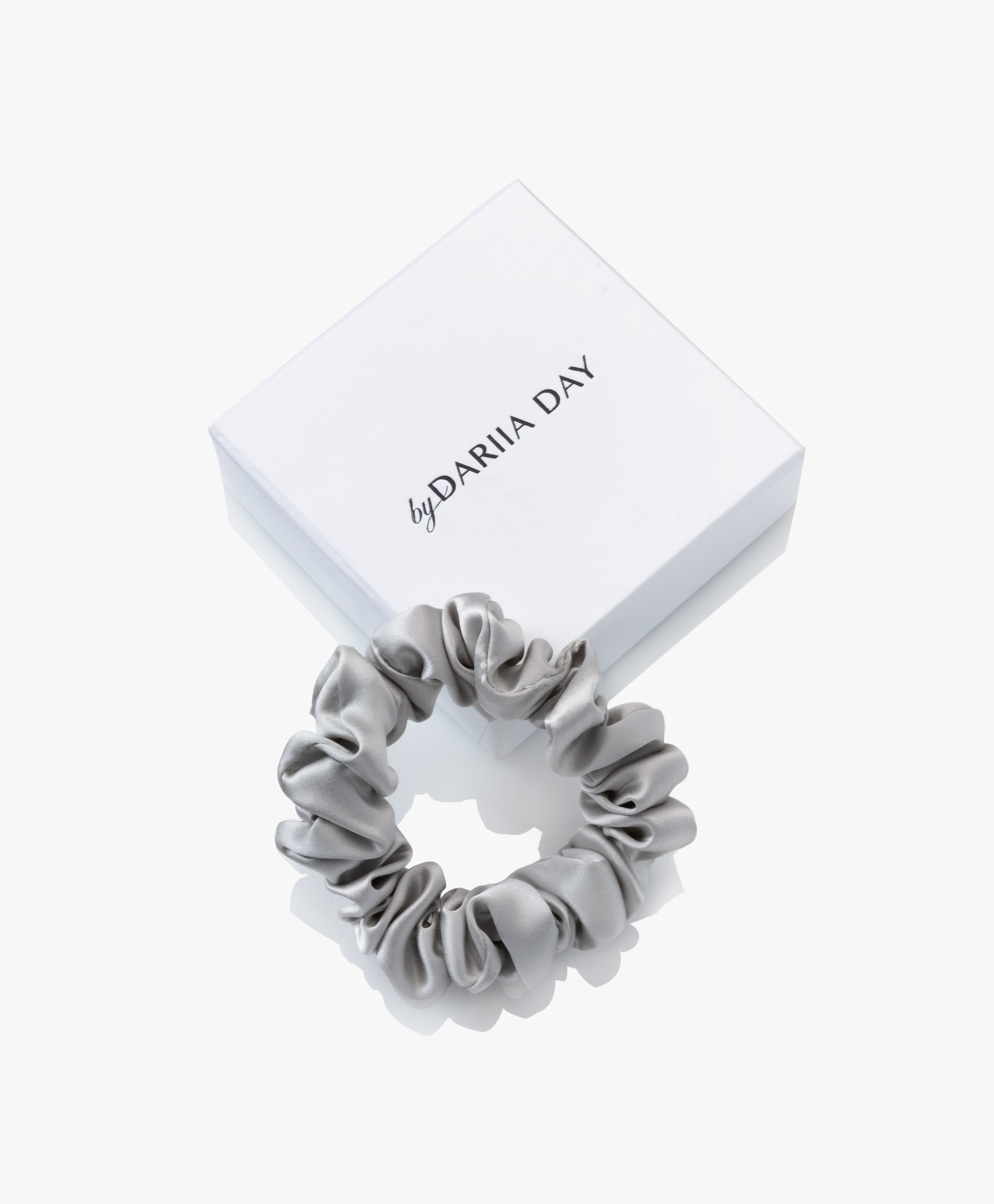 Grey Silk Scrunchie