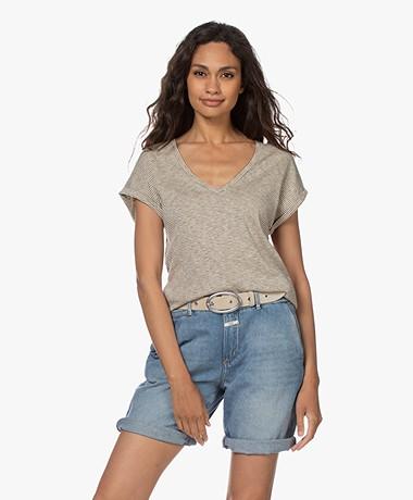 by-bar Malu Slub Jersey Striped T-shirt - Chalk