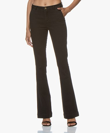by-bar Leila Long Flared Jeans - Zwart