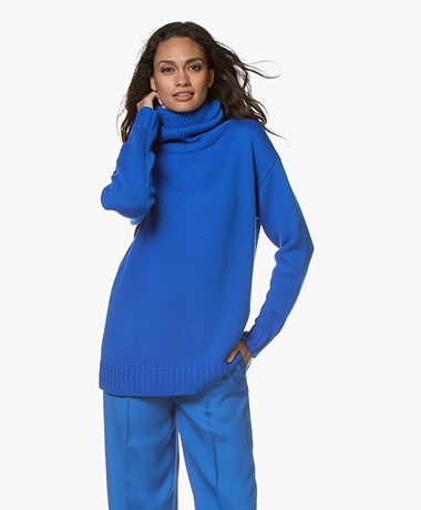 Joseph Sloppy Joe Wool Turtleneck Sweater - Plastic Blue
