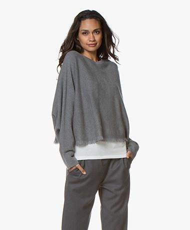 Repeat Cashmere Fringe Sweater - Mud