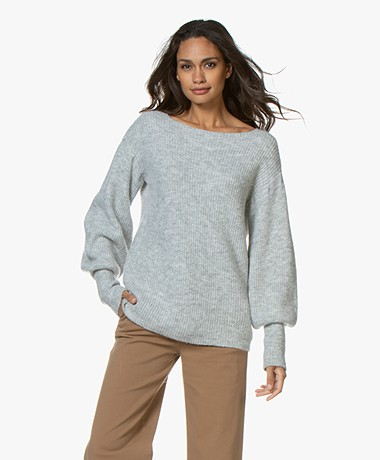 LaSalle Puff Sleeve Sweater - Grey Melange