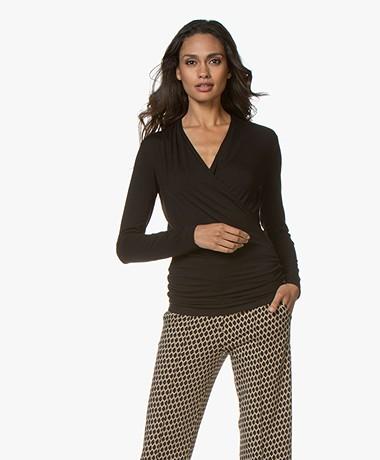 LaSalle Lyocell Jersey Overslag T-shirt - Zwart